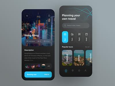 Travel App 🌎 uidesign ux tourism hotel trip tour train flight mobile app black clean travel design concept ui dark