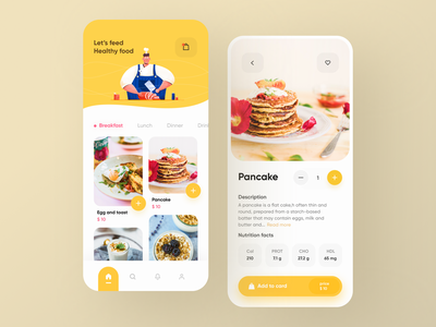 Healthy food delivery app 🌮 concept awesome illustration delivery pink uiux mobile food appdesign clean yellow food delivery uidesign ui app designer
