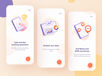 Bank app onboarding pages 💰 uidesign awesome illustrator mobile atm yellow ios app trend ui finance onboarding interface bank app location gps tracker illustration vector design
