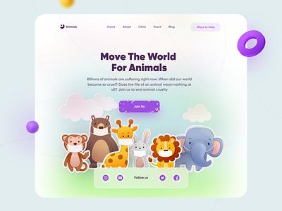 Animal Protection Hero 🦄 clean love wildlife nature pets animal animal protection worldwide webdesign trend web animals vector illustration concept uidesign ui design