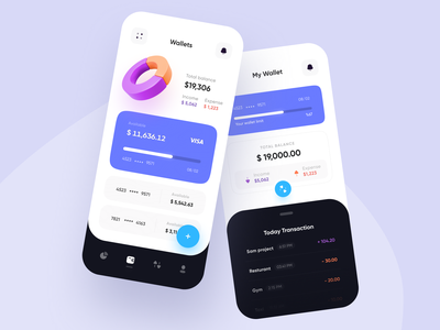 E-Wallet app 💸 design app ui bank app trends balance transaction concept mobile blue clean e-wallet finance banking wallet appdesign app