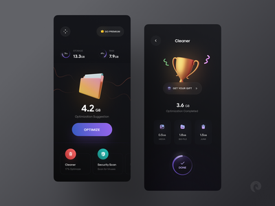 Cleaner App ✨ concept app design trend dark ui minimal ui app clean clean ui app ui mobile app memory remove folder files cleaning service optimize cleaner