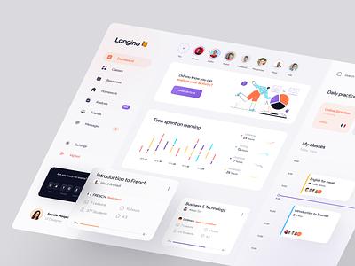 Language learning Dashboard 📙 vector illustrator course app spanish illustration clean concept ux uidesign design minimal
