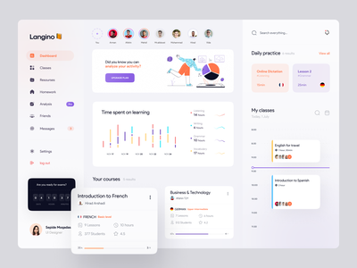 Language learning Dashboard 📙 vector illustrator course app spanish illustration clean concept ux uidesign design minimal