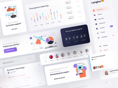 Language learning Dashboard | Components component dashboard ui dashboard time chart graph support analysis download app menu class learning language profile story social illustration illustrator character