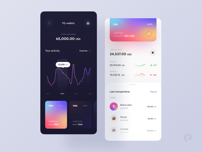 Wallet app  💳 transaction banking gradient creditcard money tracker expense income clean dark ui mobile exchange money financial app money app financial money transfer wallet ui app design app