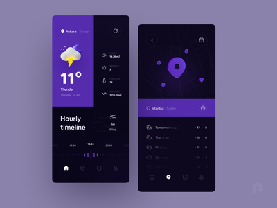Weather app ⛅️ purple dark design app icon weather icon sun rain wind mobile 3d design blender 3d app design minimal ux ui mockup weather app