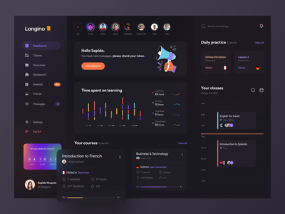 Language learning Dashboard 📓 uxui design branding glass 3d gradient chart graph dark ui dashboard minimal app design concept clean school learning course app illustrator illustration vector