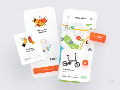 Rent Bike Concept rental gift battery payment checkout gps google spotify color glass 3d hands illustration map renting bicycle bike car rental app buy