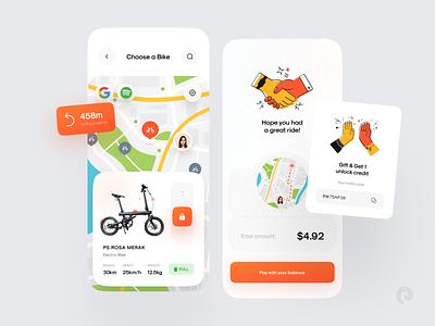 Rent Bike Concept rental gift battery payment checkout gps google spotify color glass 3d hands illustration map renting bicycle bike car rental app buy