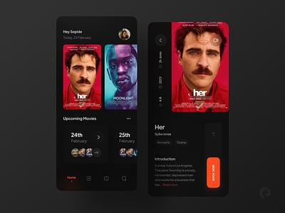 Cinema App  🎬 red clean trend trailer profile book ticket booking concept app ui dark app dark find cinema4d ticket film movie