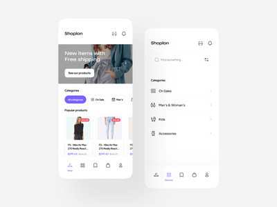 Online shopping store & E-commerce UI Kit 🛍 marketplace woman fashion style product design shopping app product online store clothes categories minimal clean sale delivery ui kit