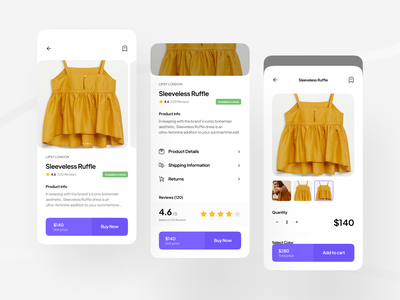 Shoplon | E-commerce UI Kit [ Product Screens 📦 | P1 ] online shop e-commerce shipping style fashion marketplace add to cart checkout product detail shopping app online store clothes price minimal clean sale product ui kit