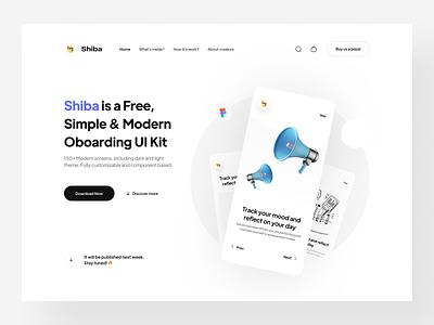 Shiba — Onboarding UI Kit (FREE) minimal branding ui freebie free landing page hero motion graphic design modern light component vector 3d illustration design app kit onboarding