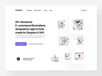 Shoplon's illustrations procreate website hero landing product 3d art illustrator design app ui kit e-commerce online store shop shoplon illustration