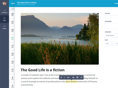 Post Editor blog post editor tools cms dashboard sidebar responsive web app