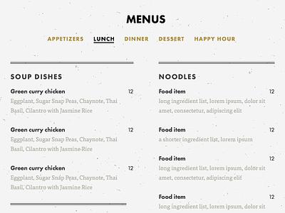 Menu food restaurant menu
