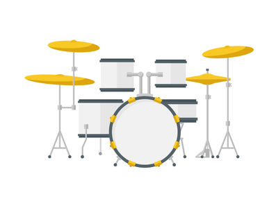 Drums drums snare cymbal music education lessons colorful illustration
