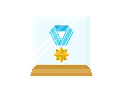 Medal medal case glass illustration