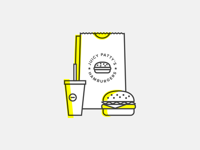 Juicy Patty's food burger hamburger illustration