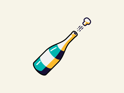 Champagne for my real friends retro color illustration pop cork bottle champagne