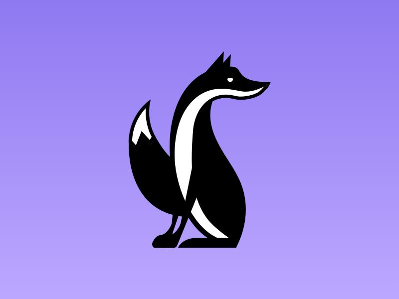 Sly Guy white black mark logo animal fox