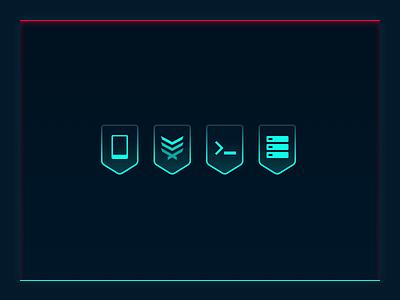 Cyberpunk Icons badge banner glow cyberpunk game icon