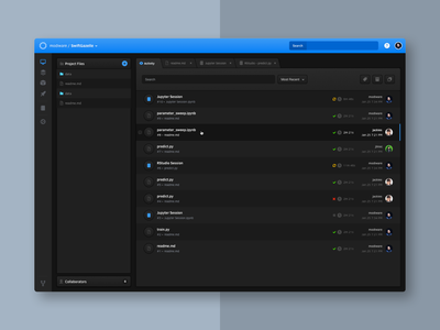 Workbench tabs dashboard dark notebook file manager science data product ux ui