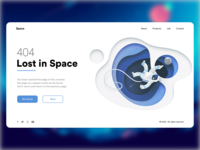 Error 404 Page- Lost In Space astronaut typography landing page product website webdeisgn blue space illustraion error404 webdesign uiux shot clean design colors ui new adobexd adobe