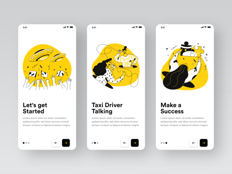 Taxi App #002 popular taxi booking app landing illustration white black yellow app taxi app taxi uiux online shot clean design colors ui new adobexd adobe