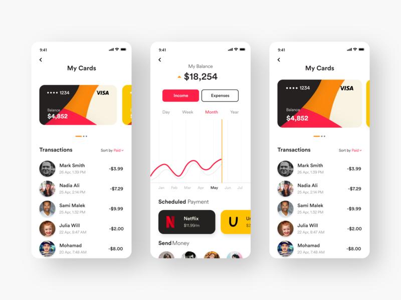 Banking App finance banking app design white black popular illustration awesome design app clean design colors ui new adobexd
