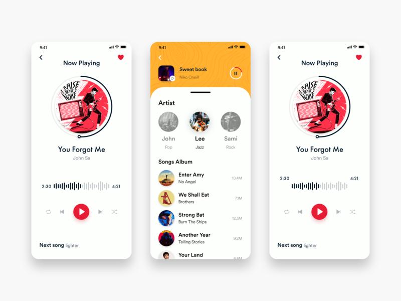 Music App #003 music app ui pink colorfull yellow music app music app design white black popular illustration awesome design app clean design colors ui new adobexd