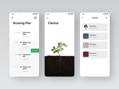 Planting App #004 green plants planting app planting app design white black popular illustration awesome design app clean design colors ui new adobexd