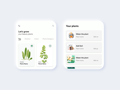 Planting Watch App #002 plants green planting app planting watch app watch app design white black popular illustration awesome design app clean design colors ui new adobexd