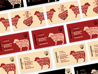 Business Card #016 typography red meat butcher busniess card branding app design white black popular illustration awesome design app clean design colors ui new adobexd