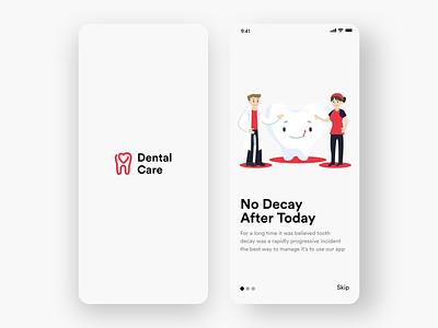 Dental Care App #001 red dental dentalcare app design white black popular illustration awesome design app clean design colors ui new adobexd