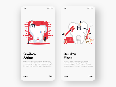 Dental Care App #002 red dental dentalcare app design white black popular illustration awesome design app clean design colors ui new adobexd