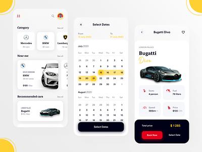 Car Rental App shot uxdesign calender carbooking uiux rentalcar rentalcarapp uidesign app popular clean design ui new adobexd