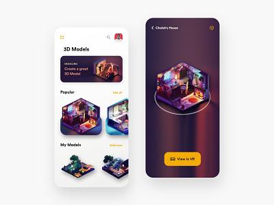 3D Model App - V1 popular trending uiuxdesign adobexd design ui colors sjot clean new appui 3dmax building app appdesign uidesign uiux lowpoly 3dmodels 3d
