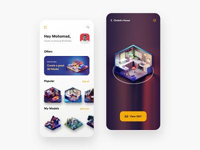 3D Model App - V2 awesome design 3d 3dmodels lowpoly uiux uidesign appdesign app building 3dmax appui new clean colors ui design adobexd uiuxdesign trending popular