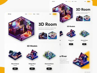 3D Model Website webui website 3d 3dmodels lowpoly uiux uidesign appdesign app building 3dmax new clean colors ui design adobexd uiuxdesign trending popular