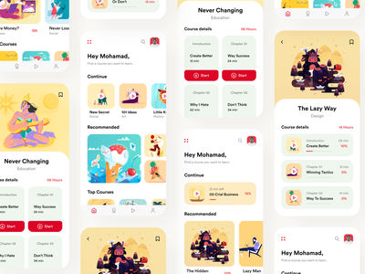 Learning App - Online Courses uiapp trending red yellow shot learnonline onlinelearnapp learningapp uxdesign uidesign uiux appdesign illustration popular clean design colors ui new adobexd