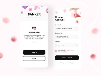 Banker- Bank App pink bank bankapp 3d 3dmodels uiux uidesign appdesign app building 3dmax appui new clean ui design adobexd uiuxdesign trending popular