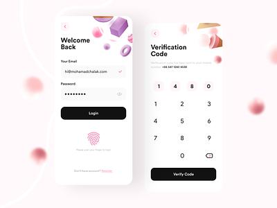 Banker- Bank App v2 bankapp 3d 3dmodels lowpoly uiux uidesign appdesign app building 3dmax appui new clean pink ui design adobexd uiuxdesign trending popular