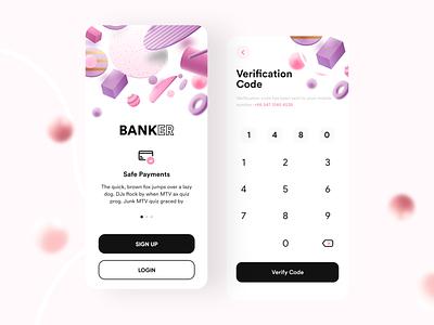 Banker- Bank App v3 bankapp 3d 3dmodels lowpoly uiux uidesign appdesign app building 3dmax appui new clean pink ui design adobexd uiuxdesign trending popular