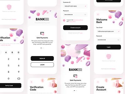Banker- Bank App - Full Presentation popular trending uiuxdesign adobexd creditcard ui clean new appui 3dmax login app appdesign uidesign uiux signup 3d bankapp finance banking
