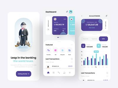 Finance & Wallet Bank App popular colors app uiuxapp redesign design new clean adobexd bankapp 3rdbank blue trending walletapp financeapp finance uiuxdesign appdesign ui