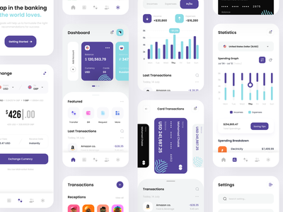 Finance & Wallet App popular colors clean ui new adobexd creditcards cards account transfer exchange walletapp appdesign uidesign uiux arabic bankapp finance settings wallet