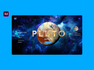 How to Design Pluto Planet Walk Website | Adobe Xd | photoshop