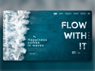 Blue Sea Waves Flow With It clean ui shot product homepage happiness psd waves diving flow clean sea ocean white blue website awesome design colors new adobexd adobe